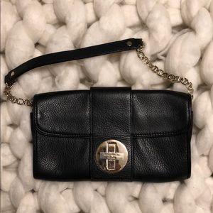 kate spade ♠️ black leather shoulder purse